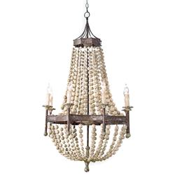 Maroma Coastal Beach Scalloped Wood Bead Metal Chandelier