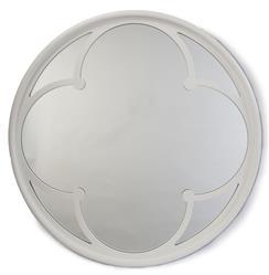 Neve Modern Gloss White Wood Round Small Mirror