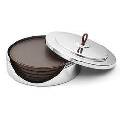 Georg Jensen Manhattan Modern Classic Silver Stainless Steel Leather Coaster Set