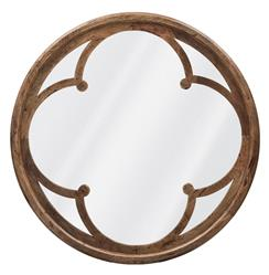 Neve Modern Brown Wood Round Large Mirror - 48D