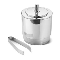 Georg Jensen Manhattan Modern Classic Silver Stainless Steel Ice Bucket with Tongs