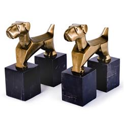 Pair of Antique Brass Terrier Dog Book Ends | Kathy Kuo Home