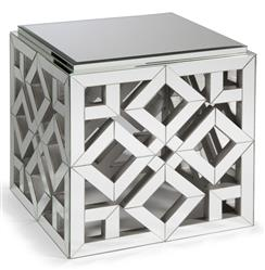 Valentino Hollywood Regency Mirrored Occasional Square End Table