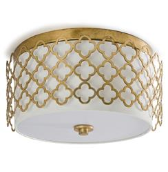 Moreau Hollywood Regency Glass Gold Leaf Ceiling Mount Fixture | REG-55-8167