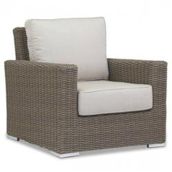 Sunset West Coronado Coastal Beige Cushion Brown Wicker Outdoor Club Arm Chair