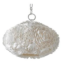 Hallandale Coastal Beach Seashell Petal Glass Oval Pendant