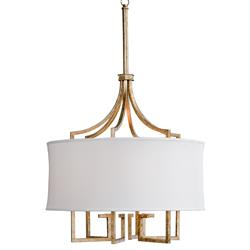 Tandy Hollywood Regency Linen Shade Gold Leaf Pendant