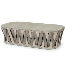 Palecek Boca Coastal Beach Grey Teak Woven Rope Outdoor Coffee Table