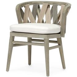 Palecek Boca Coastal Beach Grey Teak Woven Rope Outdoor Dining Side Chair