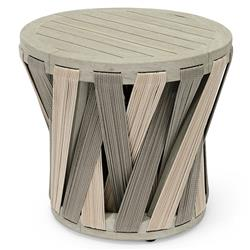Palecek Boca Coastal Beach Grey Teak Woven Rope Outdoor Round Side End Table