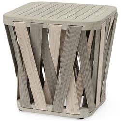 Palecek Boca Coastal Beach Grey Teak Woven Rope Outdoor Square Side End Table