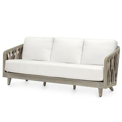 Palecek Boca Coastal Beach Grey Teak Woven Rope Outdoor Sofa