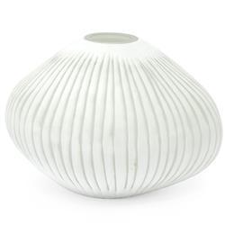 Palecek Corfu Coastal Beach White Striped Glass Decorative Vase - Medium