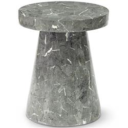 Palecek Foley Modern Classic Grey Stone Fiberglass Round Outdoor Side End Table