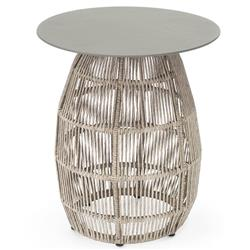 Palecek Loretta Coastal Beach Grey Aluminum Top Abaca Rope Outdoor Side Table