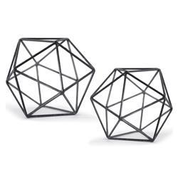 Lassus Industrial Loft Zinc Iron Polyhedron Sculpture - Set of 2