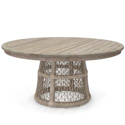 Palecek Montecito Coastal Beach Brown Teak Wood Woven Abaca Rope Round Outdoor Dining Table