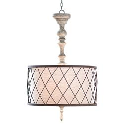 Flaubert French Country Gesso Spindle Pendant | REG-405-184