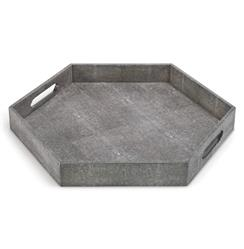 Morro Coastal Beach Charcoal Faux Shagreen Hexagon Tray