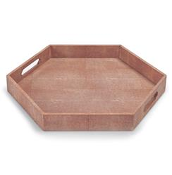 Morro Coastal Beach Coral Shagreen Hexagon Tray | REG-57-7648-1
