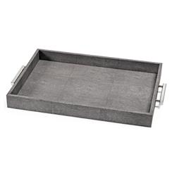 Hapuna Charcoal Faux Shagreen Silver Rectangle Tray