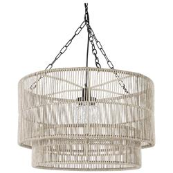 Palecek Tanner Modern Classic Off White Woven Wicker Outdoor Drum Pendant
