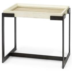 Palecek Tribecca Modern Classic Ivory Faux Shagreen Top Metal Side End Table