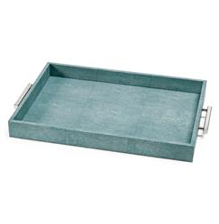 Hapuna Coastal Beach Turquoise Faux Shagreen Silver Rectangle Tray