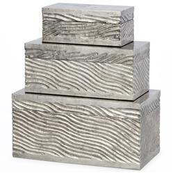 Palecek Wave Clad Modern Classic Antique Silver Metal Rectangular Decorative Box - Set of 3