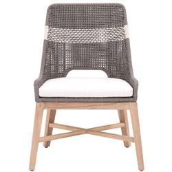 Theodore Coastal Beach Grey Woven Rope Teak Wood Outdoor Dining Chair - Set of 2