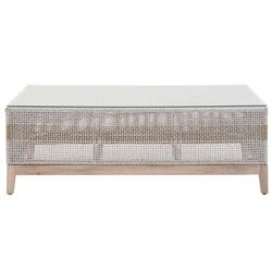 Theodore Coastal Beach Glass Top Grey Woven Rope Outdoor Coffee Table