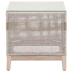 Theodore Coastal Beach Glass Top Grey Woven Rope Outdoor Side End Table