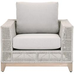Alaina Coastal Beach Grey Woven Teak Wood Arm Chair