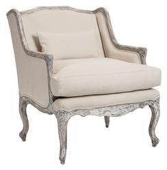Elliott French Country Barnwood Gray Wing Back Salon Chair