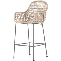 Bridget Coastal Beach Brown Woven Wicker Iron Bar Stool