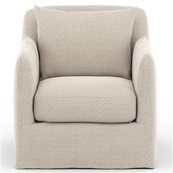 Cassandra Modern Classic Beige Slipcovered Outdoor Swivel Arm Chair