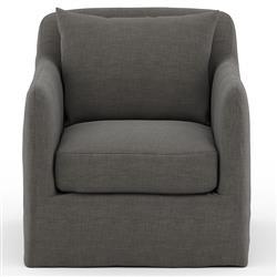 Cassandra Modern Classic Black Slipcovered Outdoor Swivel Arm Chair