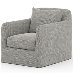 Cassandra Modern Classic Dark Grey Slipcovered Outdoor Swivel Arm Chair