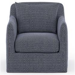 Cassandra Modern Classic Navy Blue Slipcovered Outdoor Swivel Arm Chair