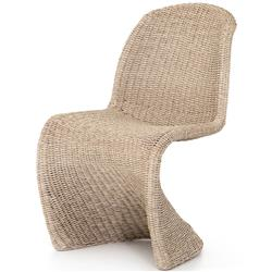 Ivanna Modern Classic Brown Woven Wicker Outdoor Dining Side Chair