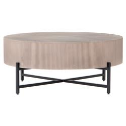 Jean Industrial Loft Taupe Brown Ridged Concrete Steel Outdoor Coffee Table
