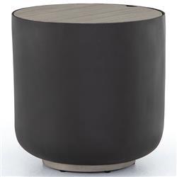 Jones Modern Classic Grey Teak Bronze Aluminum Outdoor Storage Side End Table