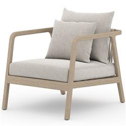 Naomi Modern Light Brown Wood Cushion Brown Teak Wood Outdoor Lounge Arm Chair