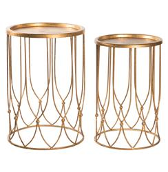 Wishbone Hollywood Regency Gold Accent Round Side Table- Set of 2