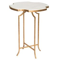 Gillian Hollywood Notched White Marble Gold Side Table