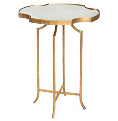 Gillian Hollywood Notched Antique Mirror Gold Side Table