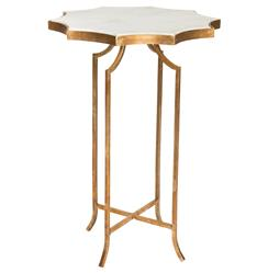 Giusti Hollywood Star Gold Leaf White Marble End Table
