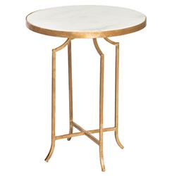 Fiji Hollywood Regency Gold Leaf White Marble End Table