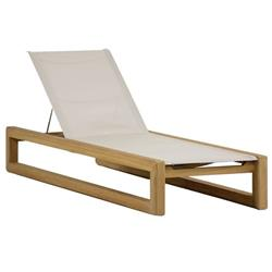 Summer Classics Bali Modern Brown Teak Canvas Sling Outdoor Chaise Lounge