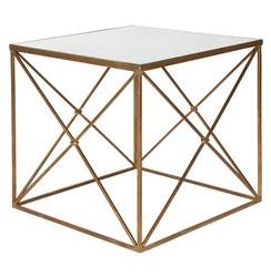 Furano Gold Hollywood Regency Antique Mirror Cube Side Table